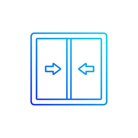 Sliding windows gradient linear vector icon. Sliding sashes side-to-side. Double hung window. Easy access to fresh air. Thin line color symbols. Modern style pictogram. Vector isolated outline drawing