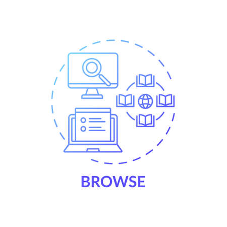 Browse process concept icon. Online library search types idea thin line illustration. Easy access to information. New technology. Professional searching. Vector isolated outline RGB color drawing