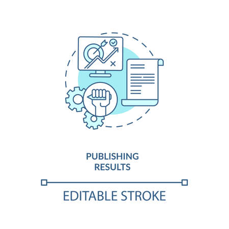 Publishing results concept icon. Disclosuring of research results idea thin line illustration. Publication of experiment in journals. Vector isolated outline RGB color drawing. Editable stroke