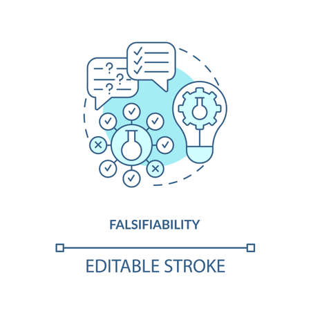 Falsifiability concept icon. Scientific knowledge idea thin line illustration. Theory and hypothesis. Not tested objects. Vector isolated outline RGB color drawing. Editable stroke.