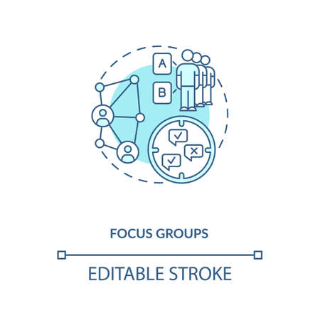Focus group concept icon. Organization of research collecting for discussion idea thin line illustration. Market researching. Vector isolated outline RGB color drawing. Editable stroke Vecteurs