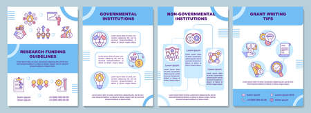 Research funding guidelines brochure template. Government institutions. Flyer, booklet, leaflet print, cover design with linear icons. Vector layouts for magazines, annual reports, advertising posters Vecteurs