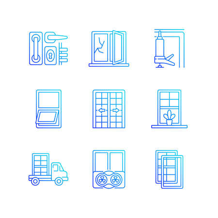 Window and door installations RGB color icons set. Locks, levers. Fixing cracked glass. Insulating barrier creation. Thin line contour symbols bundle. Isolated vector outline illustrations collection
