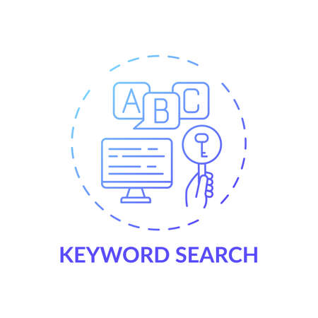 Keyword search concept icon. Online library search types idea thin line illustration. Easy access to information. New technology. Professional searching. Vector isolated outline RGB color drawing