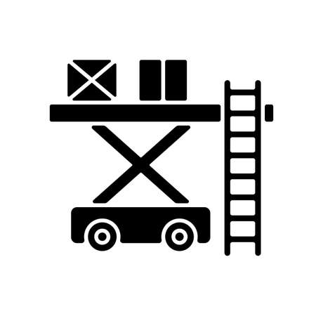 Ramp services black glyph icon. Aircraft maintenance. Professoinal ground service. Civil aviation. Ground handling. Loading luggage. Silhouette symbol on white space. Vector isolated illustration