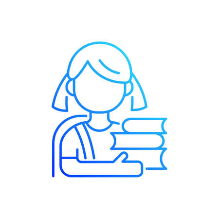 Schoolgirl gradient linear vector icon. Physical, cognitive growth. Mental development. Elementary education. Thin line color symbols. Modern style pictogram. Vector isolated outline drawing