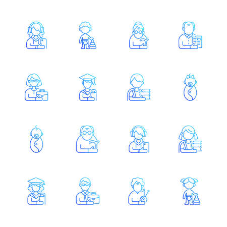 Different age and gender groups gradient linear vector icons set. Aging process. Child development. Senior citizen. Thin line contour symbols bundle. Isolated vector outline illustrations collection