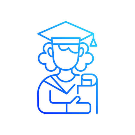 Female student gradient linear vector icon. Young adulthood. Late adolescence. Emotional stability development. Thin line color symbols. Modern style pictogram. Vector isolated outline drawing