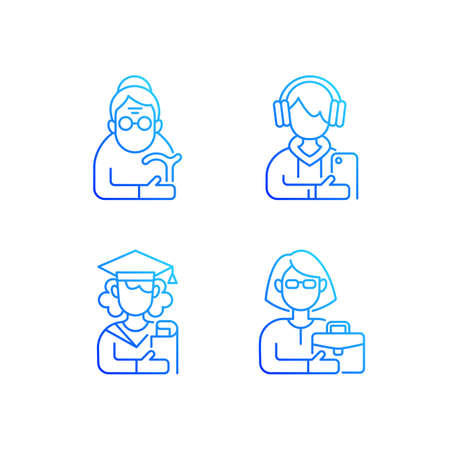 Age and gender differences gradient linear vector icons set. Female pensioner. Male teenager. Female student. Thin line contour symbols bundle. Isolated vector outline illustrations collection