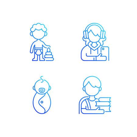 Aging process gradient linear vector icons set. Preschooler. Female teenager. Newborn. Schoolboy. Adolescent years. Thin line contour symbols bundle. Isolated vector outline illustrations collection Illusztráció
