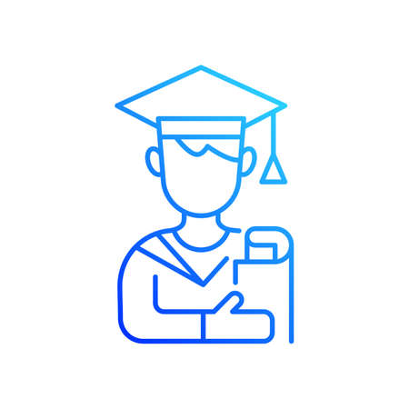 Male student gradient linear vector icon. Early adulthood. Establishing identity. Pursuing education. Thin line color symbols. Modern style pictogram. Vector isolated outline drawing
