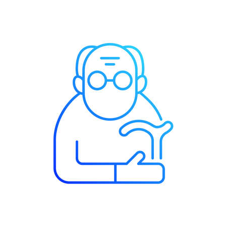 Male pensioner gradient linear vector icon. Senile man. Old age. Retirement from workforce. Aging process. Thin line color symbols. Modern style pictogram. Vector isolated outline drawing