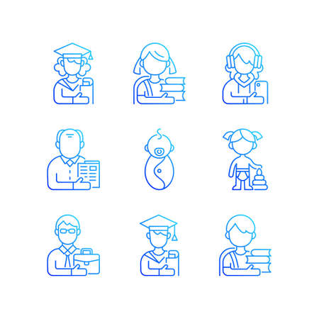 Age and gender differences gradient linear vector icons set. Female, male student. Schoolgirl, schoolboy. Thin line contour symbols bundle. Isolated vector outline illustrations collection