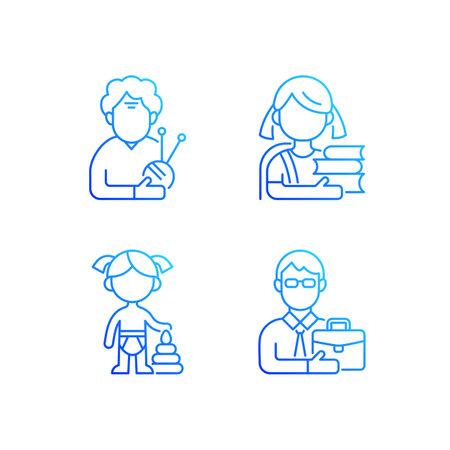 Aging process gradient linear vector icons set. Elderly woman. Schoolgirl. Female toddler. Middle-aged man. Thin line contour symbols bundle. Isolated vector outline illustrations collection Illusztráció