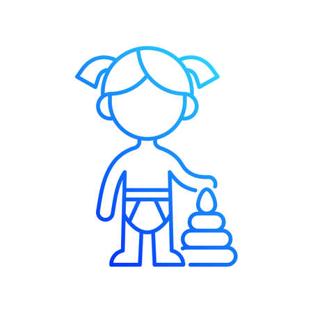 Female toddler gradient linear vector icon. Toddlerhood. Preschool years. 12 to 36 months old child. Thin line color symbols. Modern style pictogram. Vector isolated outline drawing