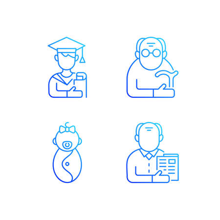Aging process gradient linear vector icons set. Male student. Pensioner. Early adulthood. Baby phase. Senior citizen. Thin line contour symbols bundle. Isolated vector outline illustrations collection