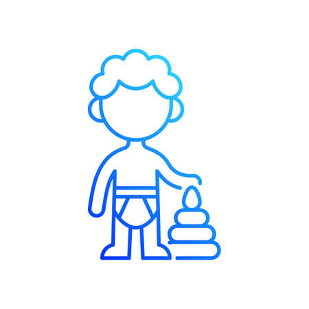 Male toddler gradient linear vector icon. 1-2 years old. Child development. Early childhood. Physical growth. Thin line color symbols. Modern style pictogram. Vector isolated outline drawing