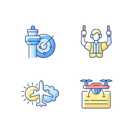 Flight dispatch RGB color icons set. Air traffic control. Airlines management improvement. Aeronautical meteorology. Drone license. Flight safety guarantee. Isolated vector illustrations