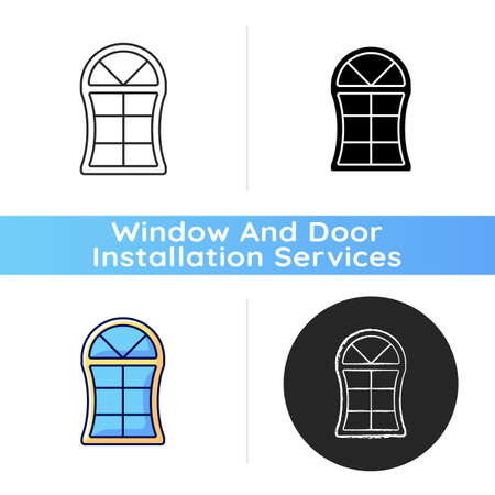 Custom windows icon. Fitting design into window opening. Unique, distinctive styles and features. Special shapes. Made-to-order item. Linear black and RGB color styles. Isolated vector illustrations