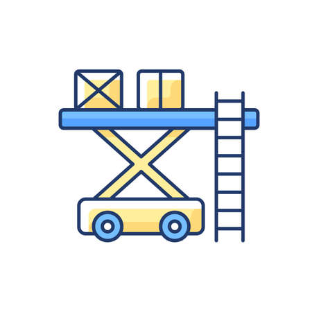 Ramp services RGB color icon. Aircraft maintenance. Airlines management improvement. Professoinal ground service. Civil aviation. Ground handling. Loading luggage. Isolated vector illustration