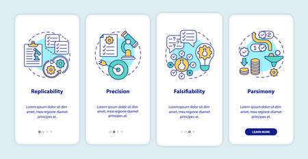 Scientific method requirements onboarding mobile app page screen with concepts. Theories and observations walkthrough 4 steps graphic instructions. UI vector template with RGB color illustrations