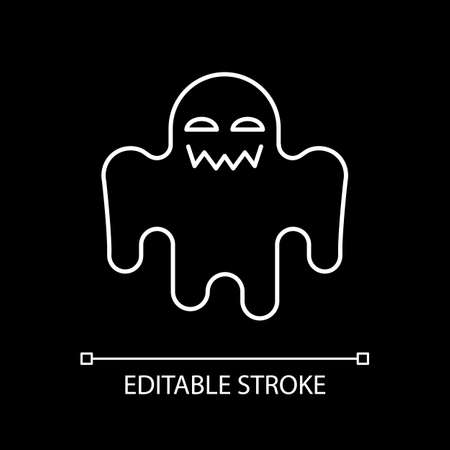 Horror movie white linear icon for dark theme. Scary film genre, creepy ghost story. Thin line customizable illustration. Isolated vector contour symbol for night mode. Editable stroke