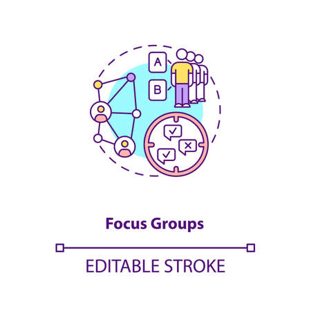 Focus group concept icon. Market researching idea thin line illustration. Qualitative method. Gathering group to discuss task. Vector isolated outline RGB color drawing. Editable stroke