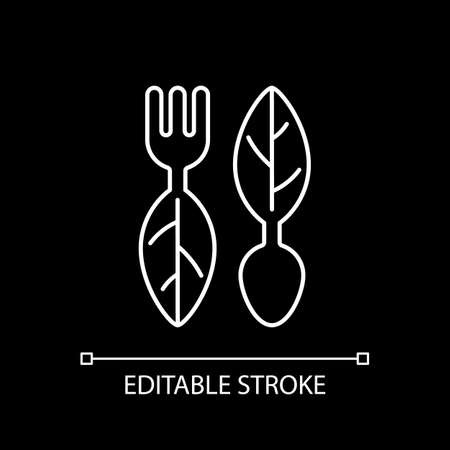 Vegan cutlery white linear icon for dark theme. Environmentally friendly products. Thin line customizable illustration. Isolated vector contour symbol for night mode. Editable stroke Ilustracje wektorowe
