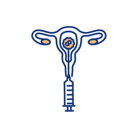 Artificial insemination RGB color icon. Vitro fertilization. Sperm injection. Artificial reproduction. Woman infertility treatment. Embryos transfer procedure. Isolated vector illustration