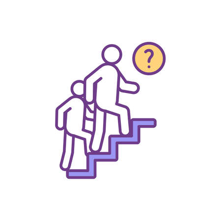 Frustration RGB color icon. Doubtfulness, misunderstanding. Inability for something achievement. Worthless efforts. Response to stressful situations. Discouragement. Isolated vector illustration