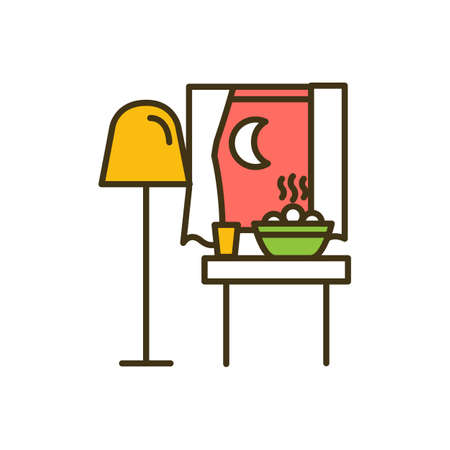 Eating late at night time RGB color icon. Uncontrolled eating. Gastric issues and heart disease risk. Weight gaining. Late-night snacking. Undigested calories. Isolated vector illustration