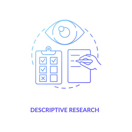 Descriptive research dark navy gradient concept icon. Method of scientific idea thin line illustration. Process for analyzing and presenting data. Vector isolated outline RGB color drawing