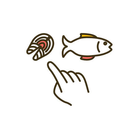 Eating fish RGB color icon. High-protein meal. Nutrient-dense foods. Boosting brain health. Dietary vitamin D sources. Reducing chronic health conditions risk. Isolated vector illustration
