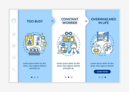 Overwhelmed in life onboarding vector template. Too busy and constant worrier. Defining types of people. Responsive mobile website with icons. Webpage walkthrough step screens. RGB color concept Vektorové ilustrace
