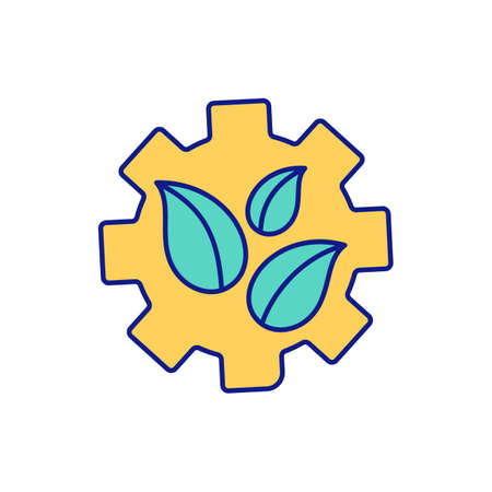 Gear of mechanism RGB color icon. Doing qualitative research. Using method of interview. Information writing in notes and transcripts. Recording process of research. Isolated vector illustration