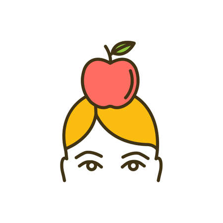 Body weight control RGB color icon. Eating healthy food. Low-fat diet. Weight management. Appetite control. Fruits and vegetables intake. Overcoming obesity. Isolated vector illustration