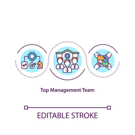 Top management team concept icon. Responsibility for effective management of organization idea thin line illustration. Power and authority. Vector isolated outline RGB color drawing. Editable stroke