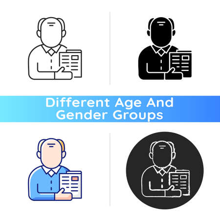 Elderly man icon. Senior citizen. Old male pensioner. Maturity stage. Aging signs. Flabby, drooping appearance. Old age pension. Linear black and RGB color styles. Isolated vector illustrations