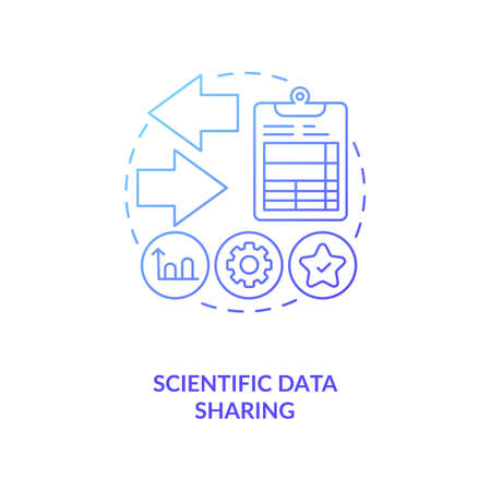 Scientific data sharing concept icon. Publishing research in conferences idea thin line illustration. Scientific methods. Vector isolated outline RGB color drawing. Editable stroke