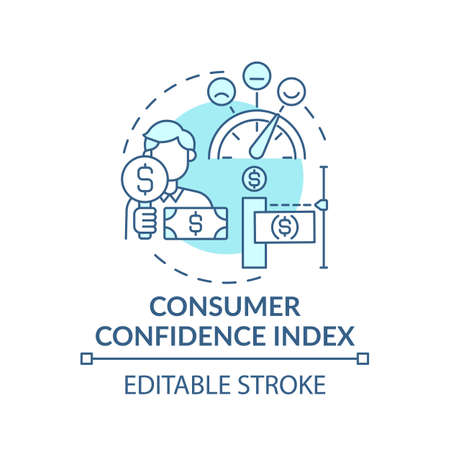 Consumer confidence index concept icon. Financial situation of population idea thin line illustration. Measuring consumer confidence. Vector isolated outline RGB color drawing. Editable stroke