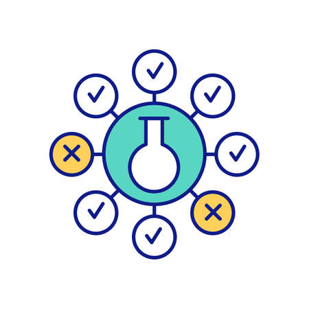 Scientific method and hypothesis testing RGB color icon. Testability and falsifiability. Systems of knowledge and scientific investigation. Essential component. Isolated vector illustration