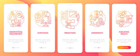 Scientific method elements onboarding mobile app page screen with concepts. Predictions and forecasting walkthrough 5 steps graphic instructions. UI vector template with RGB color illustrations