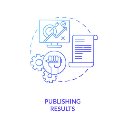 Publishing results concept icon. Disclosuring of studies findings idea thin line illustration. Publication of experimentations in magazines. Vector isolated outline RGB color drawing