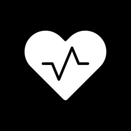 Health and wellness app dark mode glyph icon. Fitness control application. Analyze daily activities. Smartphone UI button. White silhouette symbol on black space. Vector isolated illustration