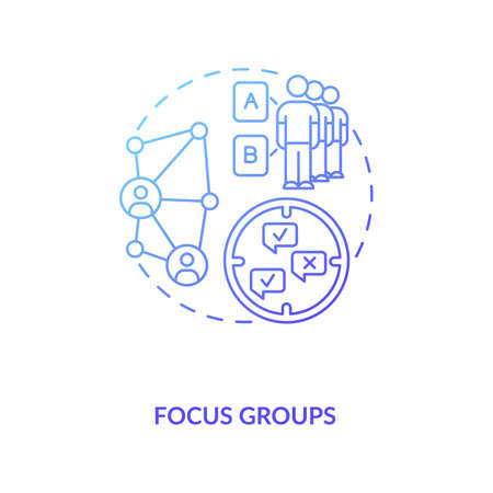 Gathering group to discuss task concept icon. Focus group idea thin line illustration. Studying market research. Representative of population. Vector isolated outline RGB color drawing