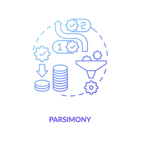 Parsimony concept icon. Method of scientific research idea thin line illustration. Explanation for phenomenon and solution to problem. Vector isolated outline RGB color drawing. Editable stroke