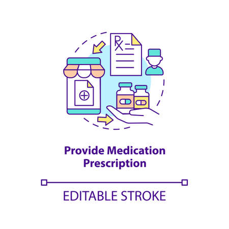 Provide medication prescription concept icon. Online pharmacy idea thin line illustration. Online medication order steps. Vector isolated outline RGB color drawing. Editable stroke