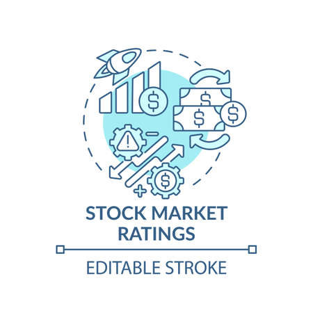 Stock market ratings concept icon. Management strategy idea thin line illustration. Market price. Aggregation of buyers and sellers. Vector isolated outline RGB color drawing. Editable stroke