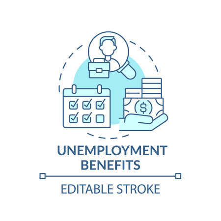 Unemployment benefits concept icon. Lost earnings and helping pay expenses idea thin line illustration. Losing work and getting money. Vector isolated outline RGB color drawing. Editable stroke