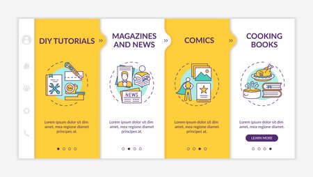 Online library catalog onboarding vector template. Comics, Cooking books. Responsive mobile website with icons. DIY Tutorials. Webpage walkthrough step screens. RGB color concept